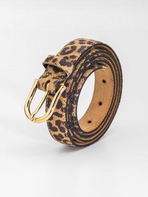 Cinturón animal print tigre con hebilla dorada