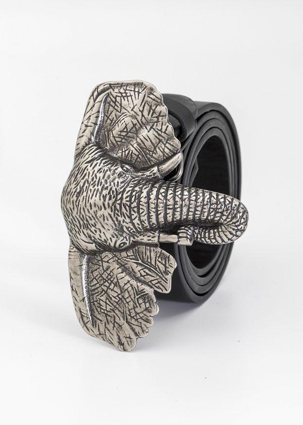 Cinturón de cabeza de elefante plateado