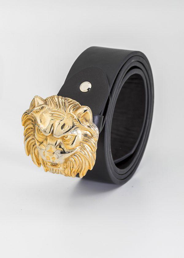Cinturón negro con hebilla dorada León