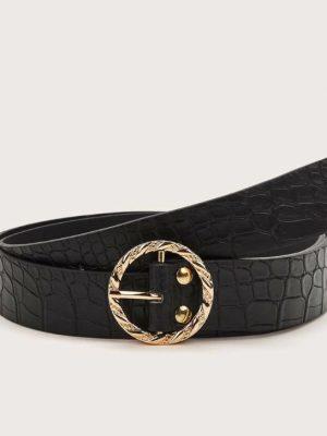 Cinturón arrugado negro hebilla dorada redonda